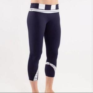 Lululemon Run Inspire Navy Stripe Crop Legging